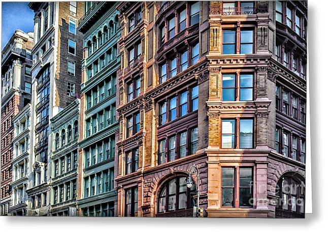 Greeting Card featuring the photograph Sights In New York City - Colorful Buildings by Walt Foegelle
