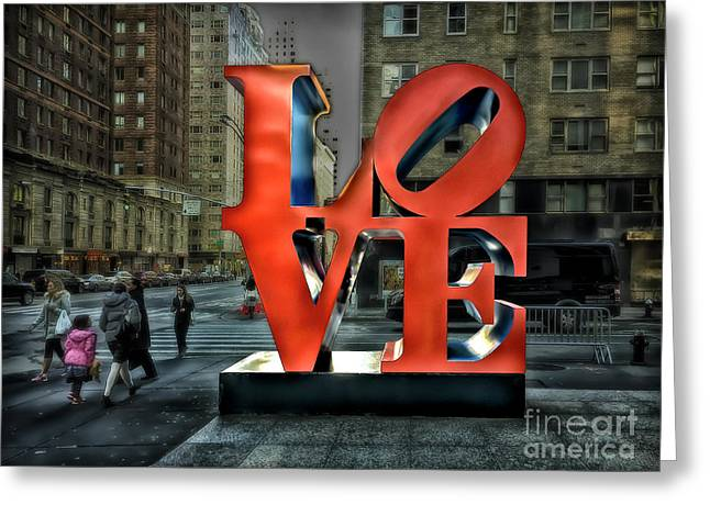 Greeting Card featuring the photograph Sights In New York City - Love Statue by Walt Foegelle