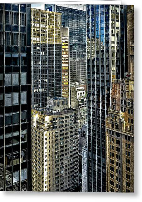 Greeting Card featuring the photograph Sights In New York City - Skyscrapers Shot From Skyscraper by Walt Foegelle