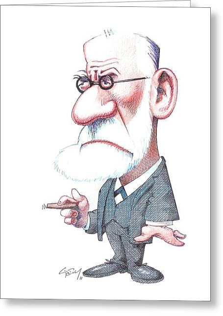 European Artwork Greeting Cards - Sigmund Freud, Caricature Greeting Card by Gary Brown