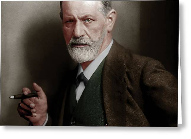 Sigmund Freud Colorized 20170520 Square Greeting Card by Wingsdomain Art and Photography