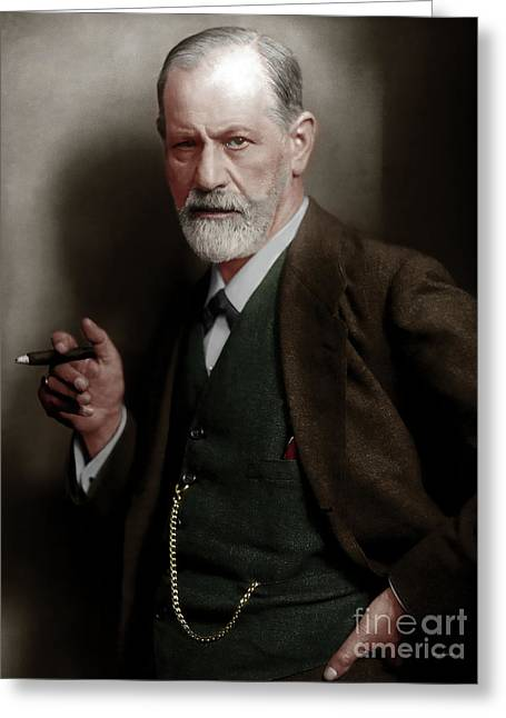 Sigmund Freud Colorized 20170520 Greeting Card by Wingsdomain Art and Photography