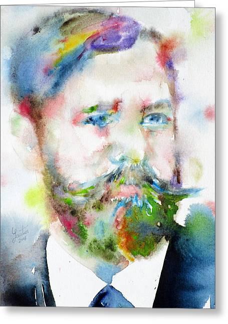 Sigmund Freud - Watercolor Portrait.10 Greeting Card by Fabrizio Cassetta