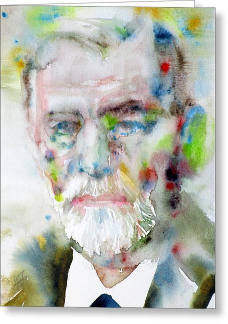 Sigmund Freud - Watercolor Portrait.11 Greeting Card