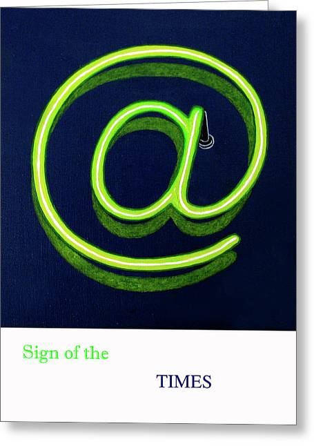 Time Drawings Greeting Cards - Sign of the Times Greeting Card by Loraine LeBlanc