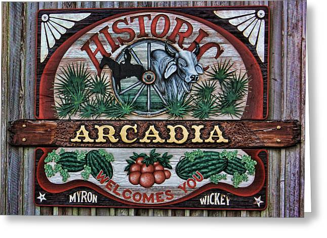 Sign - Welcome To Arcadia Greeting Card by HH Photography of Florida