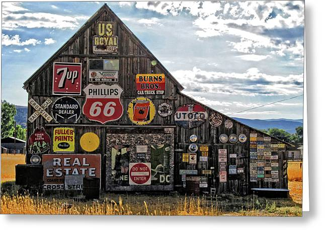 Greeting Card featuring the photograph Signage Barn by David King