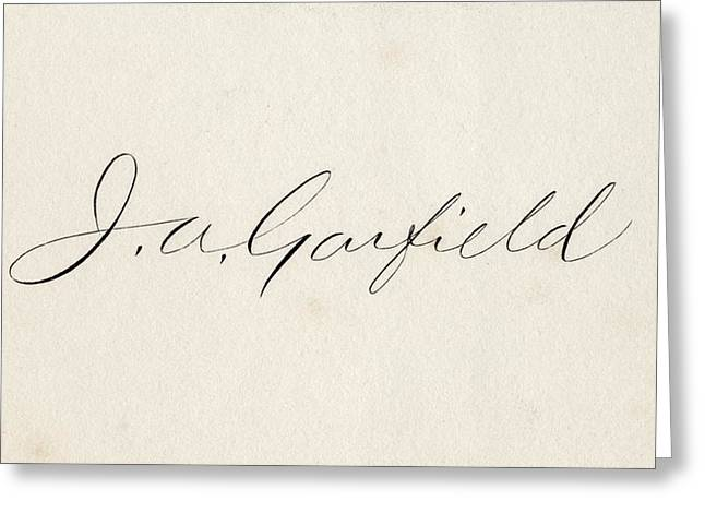 Signature Of James Abram Garfield 1831 Greeting Card by Vintage Design Pics