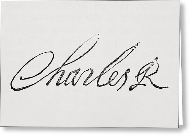 Signature Of King Charles I Of England Greeting Card by Vintage Design Pics