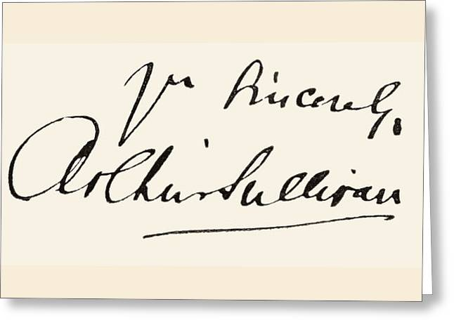 Signature Of Sir Arthur Seymour Greeting Card by Vintage Design Pics