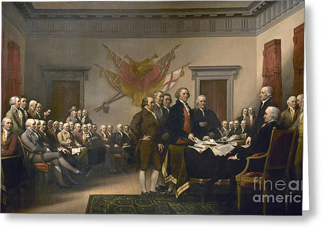 Signing The Declaration Of Independence, July 4th, 1776 Greeting Card by John Trumbull