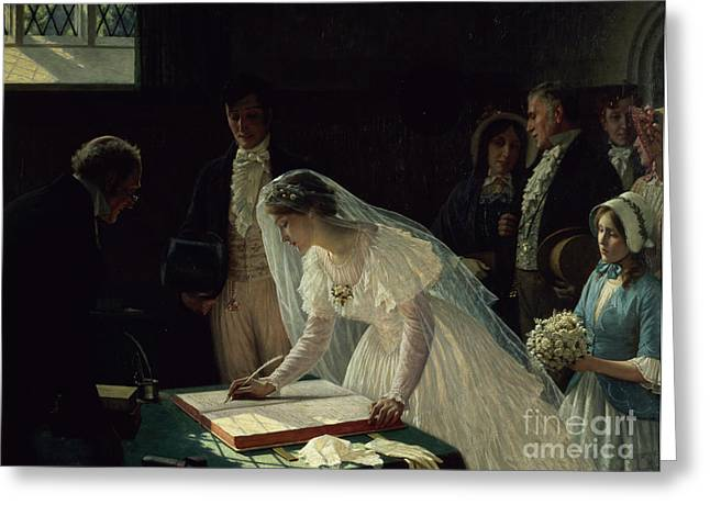 Woman Canvas Greeting Cards - Signing the Register Greeting Card by Edmund Blair Leighton