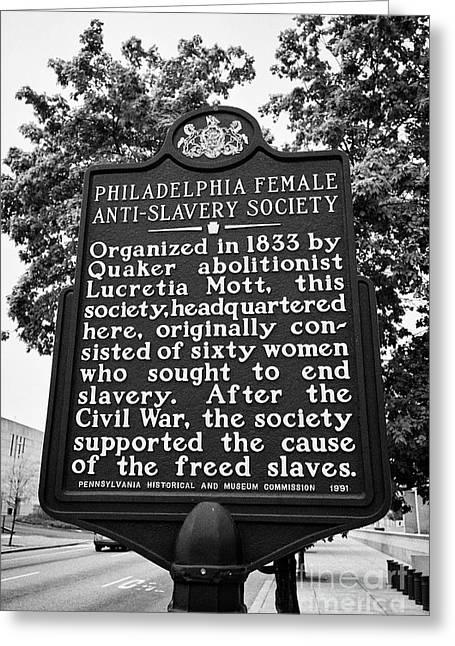 signpost commemorating Philadelphia female anti slavery society and lucretia mott USA Greeting Card