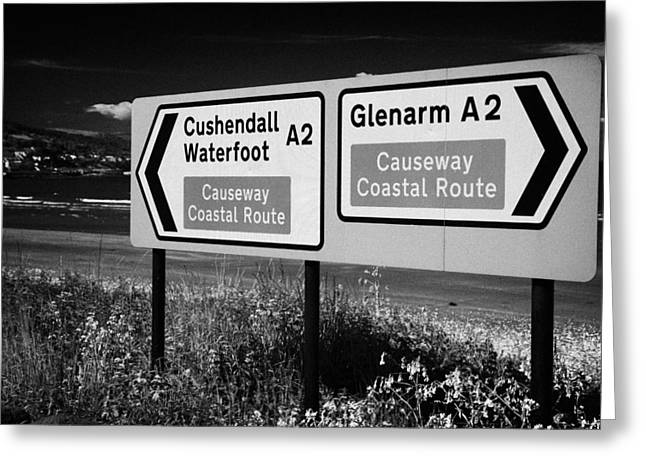 Scenic Drive Photographs Greeting Cards - Signposts For The Causeway Coastal Route At Carnlough Between Cushendall And Glenarm County Antrim Greeting Card by Joe Fox