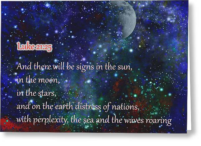 Signs In The Sun Moon Stars Greeting Card by Beverly Guilliams