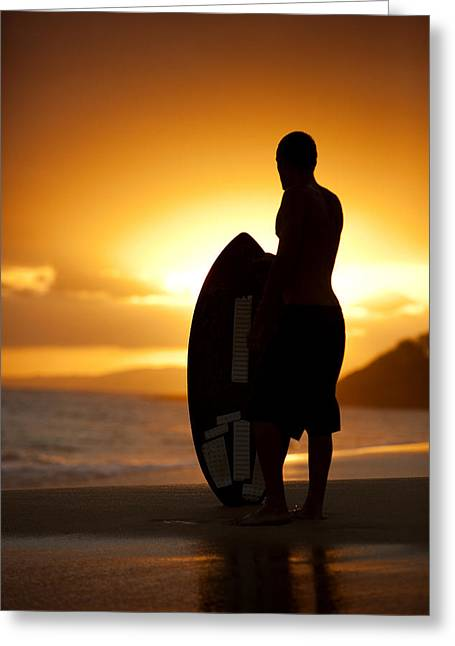 Sihouette Of Skimboarder Greeting Card
