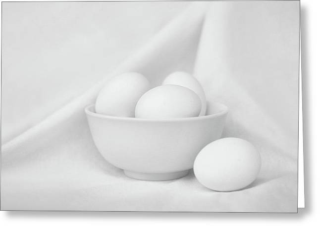Silence - Eggs And Bowl - Still Life - Black And White Greeting Card