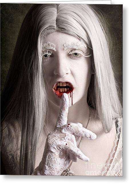 Silent Evil White Vampire Woman. Monster Secret Greeting Card