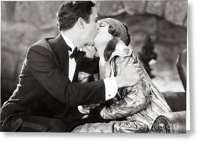 Silent Film Still: Kissing Greeting Card by Granger