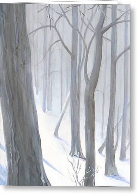 Greeting Card featuring the painting Silent Forest  by Margit Sampogna
