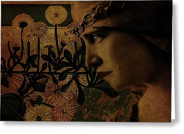 Silent Lady Greeting Card by Lesa Fine