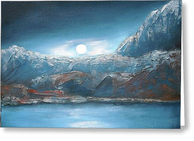 Silent Night In Silver Greeting Card by Anne Thomassen