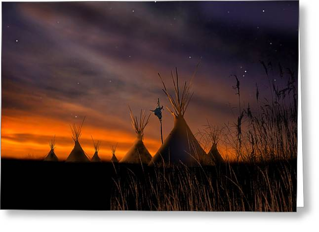 Silent Teepees Greeting Card by Paul Sachtleben