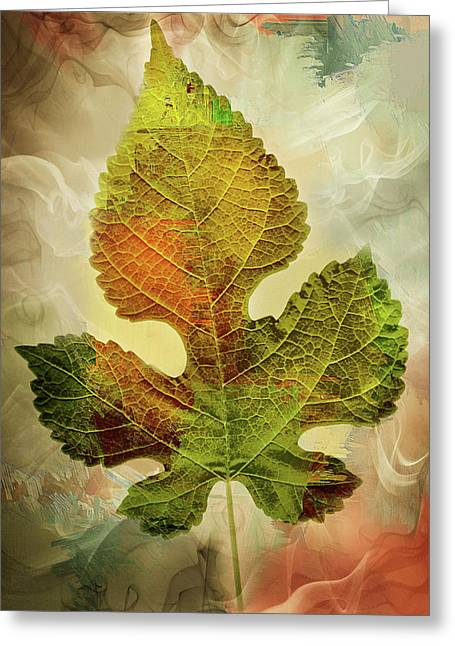 Silently Fall The Autumn Leaves-colorful Contemporary Art Greeting Card