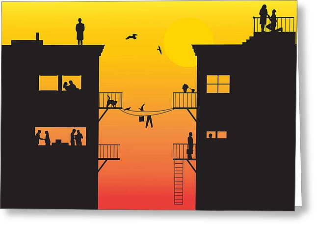 Silhouet City Greeting Card by Lionel Emanuelson