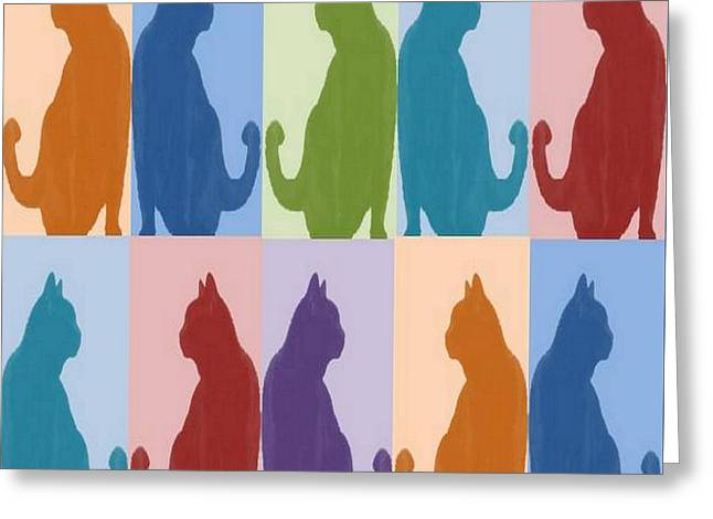 Silhouette Cat Collage Pattern New Media Art Greeting Card by Tracey Harrington-Simpson