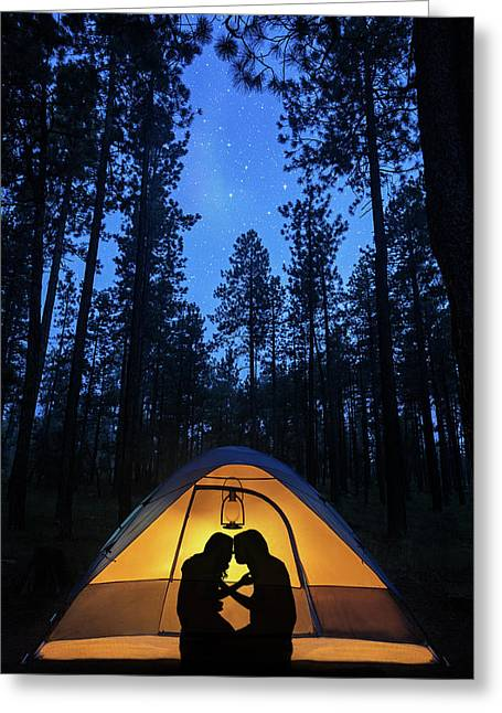 Silhouette Couple Camping Under Stars In Tent Greeting Card