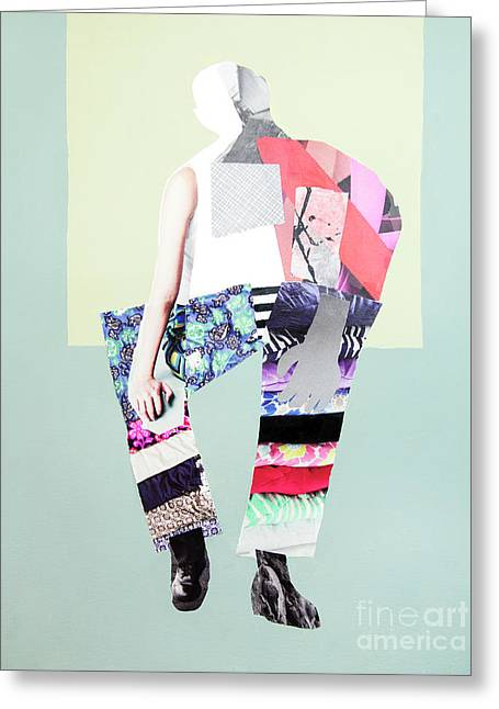 Greeting Card featuring the mixed media Silhouette by Elena Nosyreva