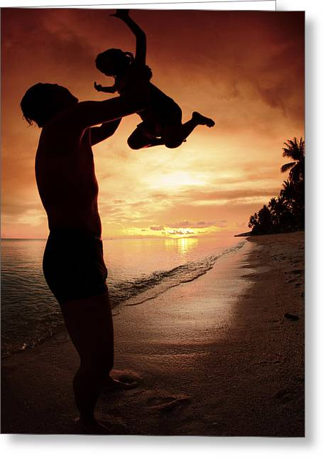Relatives Greeting Cards - Silhouette Family Of Child Hold On Father Hand Greeting Card by Anek Suwannaphoom