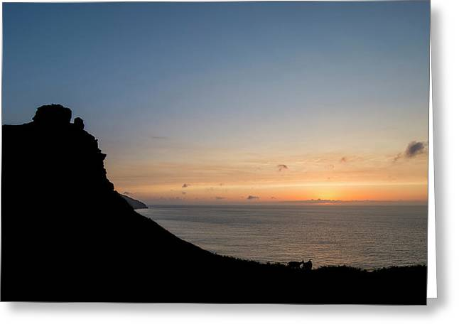 Silhouette Landscape Image Of Valley Of The Rocks In Devon At Su Greeting Card