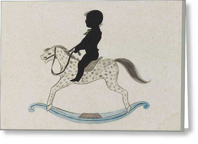 Silhouette Of A Boy On A Rocking Horse Greeting Card by MotionAge Designs