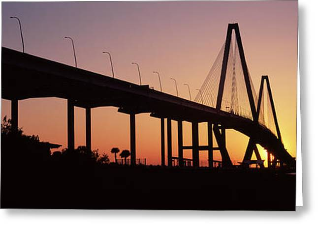 Silhouette Of A Bridge Over A River Greeting Card by Panoramic Images