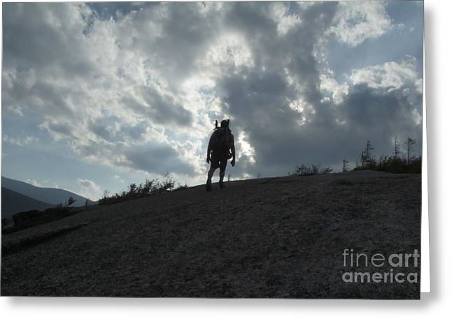 Silhouette Of A Hiker On Middle Sugarloaf Mountain - White Mountains New Hampshire Usa Greeting Card