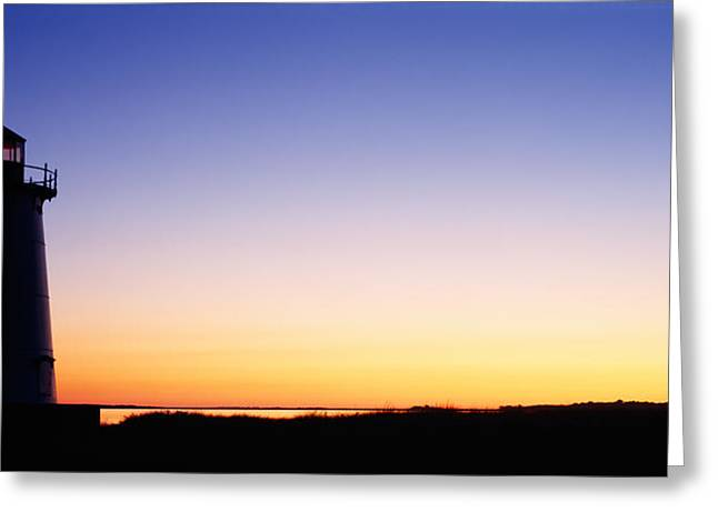 Silhouette Of A Lighthouse, Edgartown Greeting Card by Panoramic Images