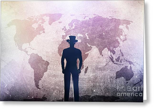 Silhouette Of A Man In Hat Standing In Front Of World Map On Grunge Concrete Wall Greeting Card by Michal Bednarek