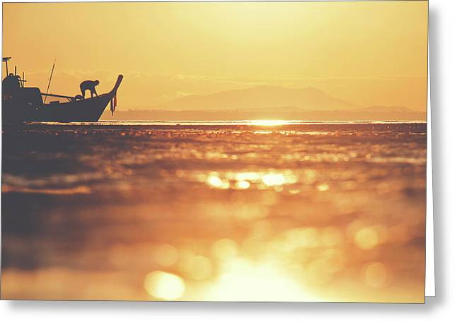 Silhouette Of A Thai Fisherman Wooden Boat Longtail During Beautiful Sunrise Greeting Card