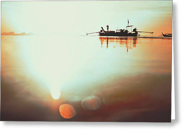 Silhouette Of A Thai Fisherman Wooden Boat Longtail During Beautiful Sunrise Thailand Greeting Card