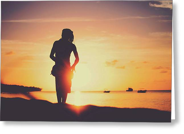 Silhouette Of A Young Rasta Man Playing Drums On The Beach During Beautiful Summertime Sunset Greeting Card