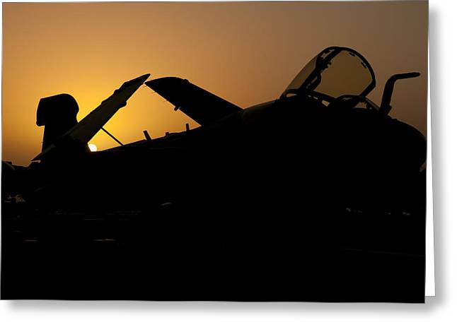 Silhouette Of An Ea-6b Prowler Greeting Card by Giovanni Colla