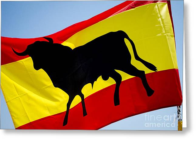 Silhouette Of Bull On Spanish Flag Greeting Card