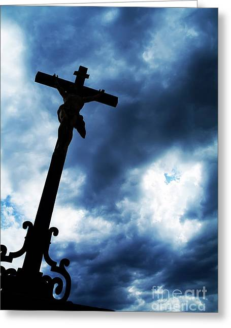 Silhouette Of Crucifix Greeting Card by Sami Sarkis