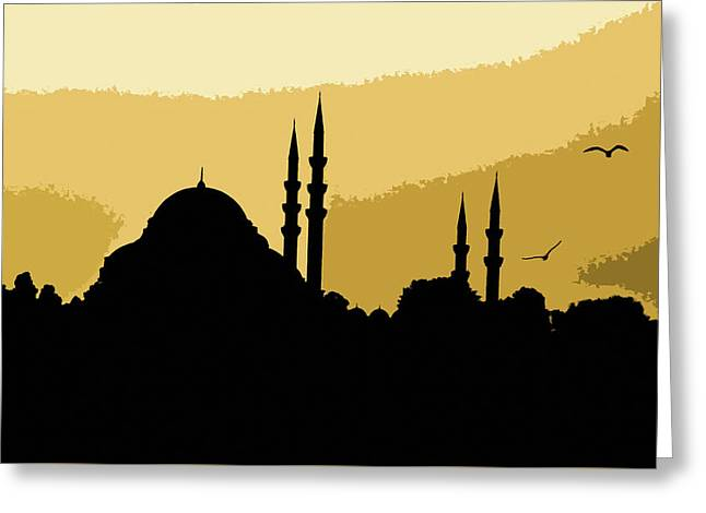 Silhouette Of Mosques In Istanbul Greeting Card