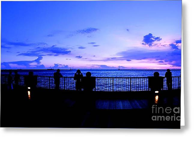 Greeting Card featuring the photograph Silhouette Of People At Sunset by Yali Shi