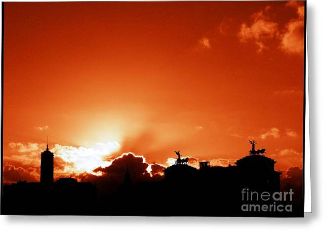 Silhouette Of Rome Against A Sunset Sky Greeting Card