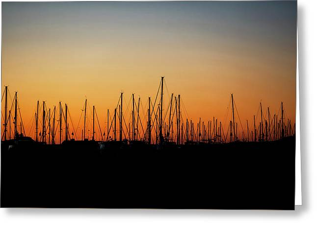 Silhouette Of Sailboats At Sunrise Greeting Card
