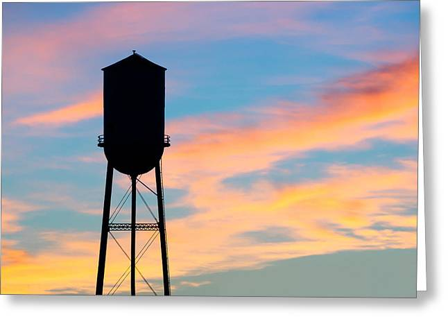 Silhouette Of Small Town Water Tower Greeting Card by Todd Klassy